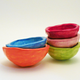 Set of Five Handmade Orange Green Blue Red Pink Bowls