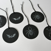 Black and White Halloween Tags Halloween Party Gift Tags Halloween Party Goody Bag Tags, Bat, Spider, Skeleton Tags, Set of 24