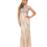 Champagne Crystal Beaded Lace Cap Sleeve Mermaid Long Dress Prom 2015