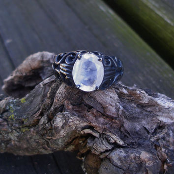 Moonstone ring, black silver ring, 925 silver ring, gemstone ring, rainbow ring, antiqued ring, black ring, size 6 ring, goth ring