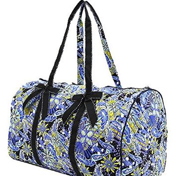 Quilted Paisley Floral Large Duffle Bag - 21-in x 12-in x 11-1/2-in
