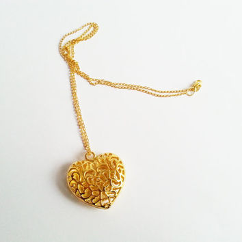 Big gold long heart necklace gift for her valentines mothers day gift