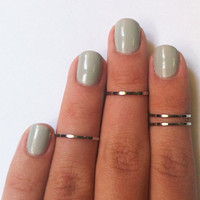 4 Above the Knuckle Rings - chrome silver plated thin shiny bands - set of 4 stackable midi rings