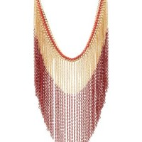 Threaded & Dip-Dyed Fringe Necklace by Charlotte Russe - Red