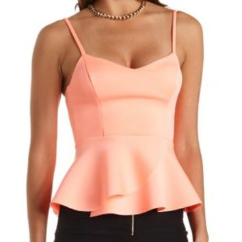 Neon Peplum Tank Top by Charlotte Russe - Neon Coral