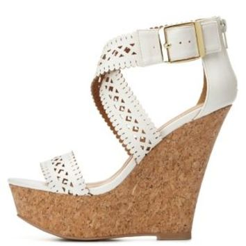 Laser Cut-Out Platform Wedge Sandals by Charlotte Russe - White