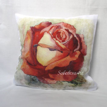 Free Shipping - Watercolor Throw Pillows - Pink Rose - The decorative cushion cover - Roses - decorative pillow case -  cushion