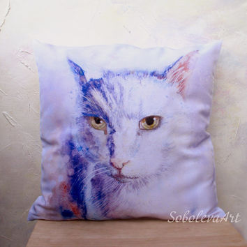 Free Shipping - Throw Pillow - The Decorative Cushion Cover -White Cat - Watercolor - decorative pillow case - Pet Portrait - Gift