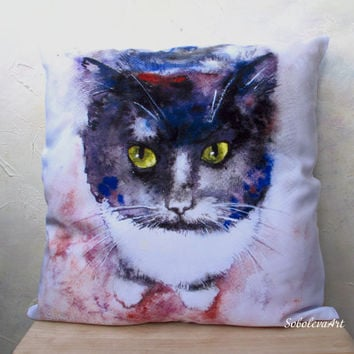 Free Shipping - Throw Pillow - The Decorative Cushion Cover - Black Cat - Watercolor - decorative pillow case - Pet Portrait - Gift