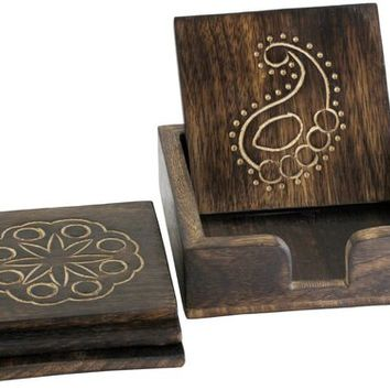Elegant Set of 4 Hand Carved Coasters with Paisley and Floral Patterns