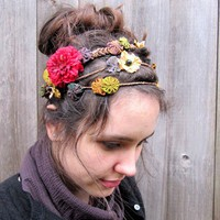 Floral Headband  Bohemian Folk Flowers &amp; by BloomDesignStudio