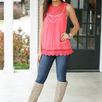 Leap of Lace Tank - Coral
