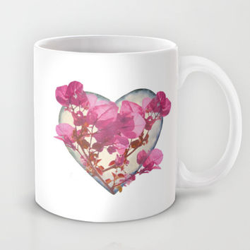 Heart Shaped with Flowers Digital Collage Mug by DFLC Prints
