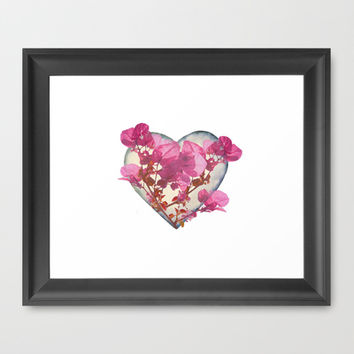 Heart Shaped with Flowers Digital Collage Framed Art Print by DFLC Prints
