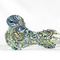 Octopus Spoon X Large Thick Wall Fumed Color Changing Hand Blown Glass