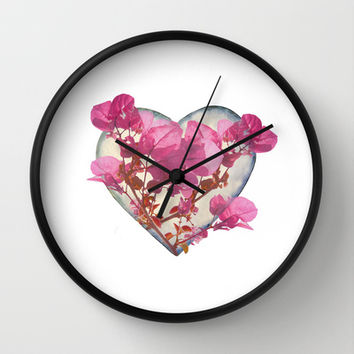 Heart Shaped with Flowers Digital Collage Wall Clock by DFLC Prints