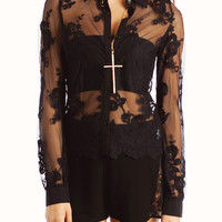 floral-lace-blouse BLACK CREAM - GoJane.com