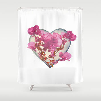 Heart Shaped with Flowers Digital Collage Shower Curtain by DFLC Prints