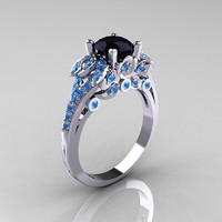 Classic 14K White Gold 1.0 CT Black Diamond Blue Topaz Blazer Wedding Ring R203-14KWGBTBD