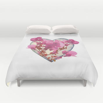 Heart Shaped with Flowers Digital Collage Duvet Cover by DFLC Prints