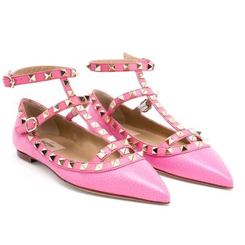 Grained Leather Rockstud Flats - VALENTINO