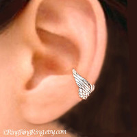 Angel wing silver ear cuff earring jewelry - Tiny cartilage non pierced earcuff for men and women  082212