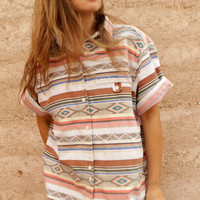 IKAT style BRIGHT boxy southwest button up down shirt