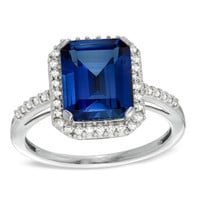 Emerald-Cut Lab-Created Sapphire and 1/5 CT. T.W. Diamond Ring in 10K White Gold