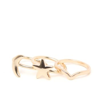 With Love From CA Moon Star Midi Ring Set - Womens Jewelry - Gold - One