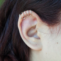 Helix five rings ear cuff/ wire wraped cartilage fake piercing gold or silver/ clip on