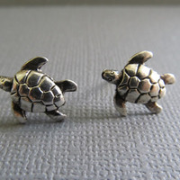 Silver Baby Turtle Earrings