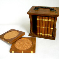 Library of Coasters  vintage Book Case of by Mylittlethriftstore