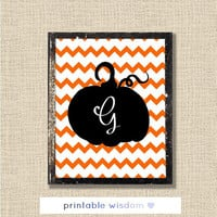 Halloween Printable, monogram custom art digital print wall decor poster, pumpkin chevron personalized