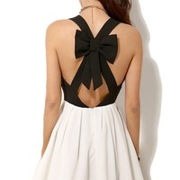 Sheinside Women's Black Criss Cross Back Bowknot Pleated Dress