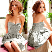 Women Embroider Flower Chiffon Ribbon Strapless Cocktail Mini Dresses Black Gray
