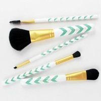 Makeup Brush Set by Altair Beauty ~ 5pc Mint Chevron Professional Cosmetic Brushes Set Includes: Powder, Foundation, Blending, Brow + Spoolie! Vegan Makeup Kit + Access to Makeup Tutorials! Professional Makeup Brushes to Create Infinite Beauty Looks!