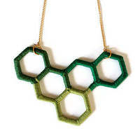 Unique Upcycled Geometric Necklace in Green Shades