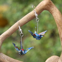 Origami Crane Earrings - Bright Blue with Gold and Red Waves
