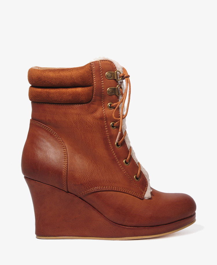 faux shearling wedge boots from forever 21 shoes shoes