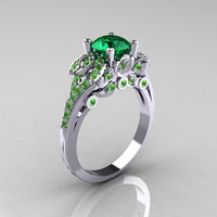 Classic 14K White Gold 1.0 CT Emerald Peridot Blazer Wedding Ring R203-14KWGPEM