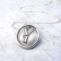 Monogram necklace wax seal pendant hand stamped from recycled silver in letter Y