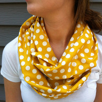 Mustard Yellow Polkadot Infinity Scarf