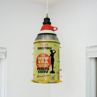 Vintage Potato Chip Can Hanging Light  Repurposed by TotalReclaim