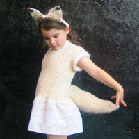 Arctic Fox Tail and Headband Costume - Halloween Girls White Fox Animal WOOL Hat and Tail Only - Eco Friendly Kids