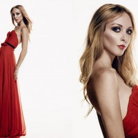 Scarlet Silk Hand Gathered Bustier Gown