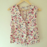 Vintage 90's White Floral Button Up Vest Tank Top FREE SHIPPING