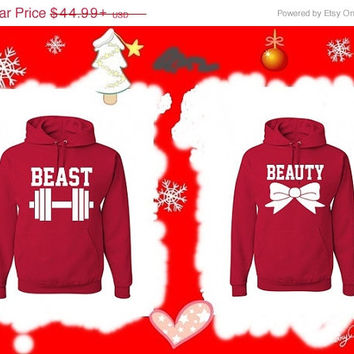 Valentine Sale BEAUTY and BEAST Matching Couples Hoodies Sweatshirts in Red. Personalize by adding name or date