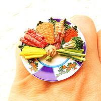 Kawaii Sushi Ring Hand Rolled Sushi Party Ring by SouZouCreations