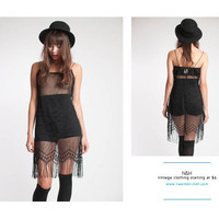 Vintage 90s Sheer Knitted Flapper-Dress with Fringe Trim