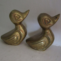 Vintage Brass Ducks Adorable Pair of Figurines Miniatures